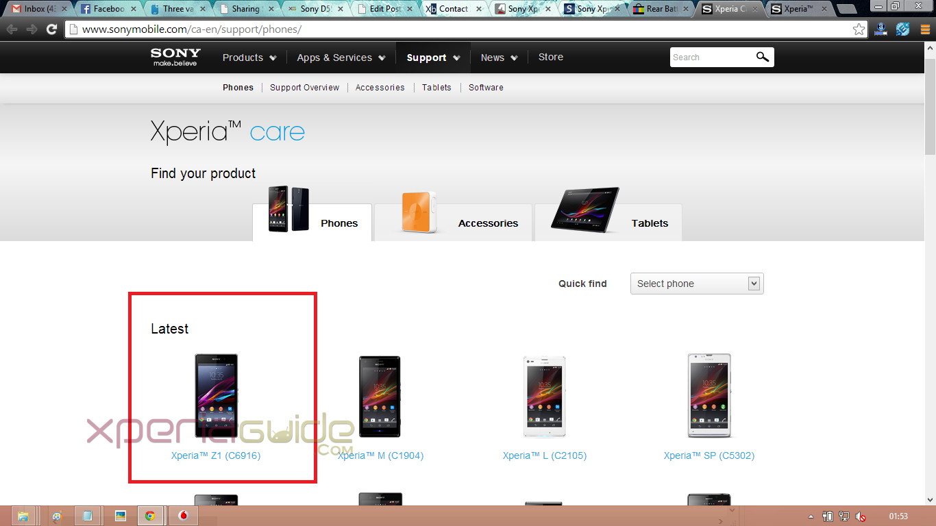 Xperia Z1 C6916 LTE Version listed on Sony Mobile Canada Website