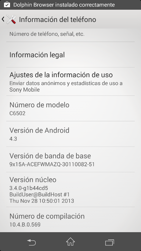 Xperia ZL Android 4.3 10.4.B.0.569 firmware update