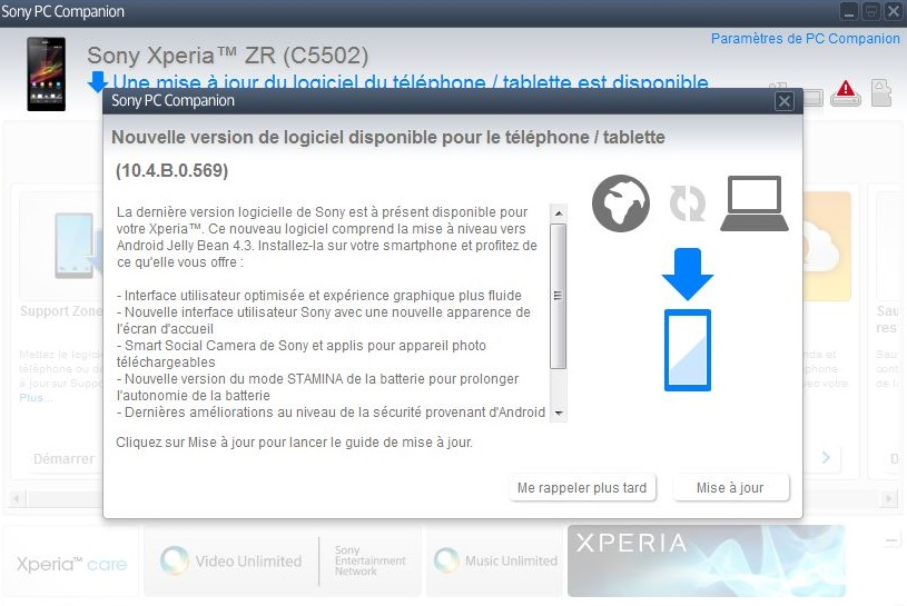 Xperia ZR Android 4.3 10.4.B.0.569 firmware update