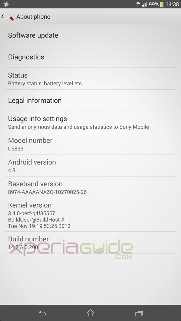 Z Ultra Android 4.3 14.2.A.0.290 firmware Update