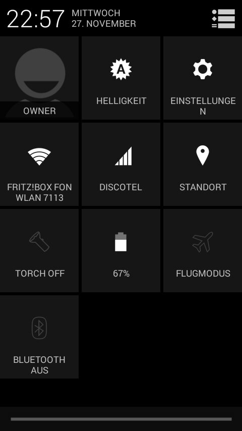 Unofficial CyanogenMod 11 KitKat 4.4 ROM for Xperia Arc - Notification Panel