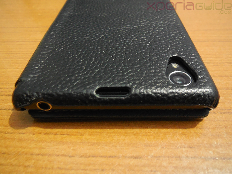 Secondary Microphone opening in Xperia Z1 Hard-shell flip Leather Case from TETDED