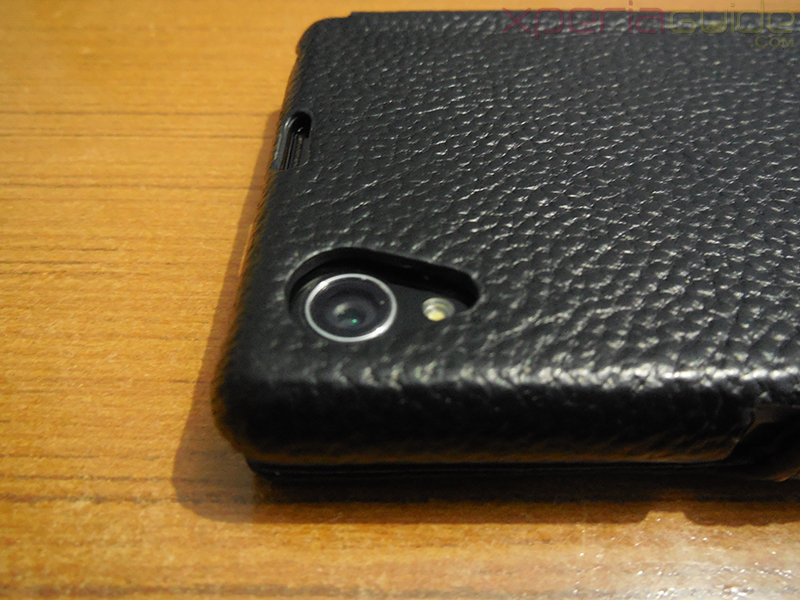 camera opening in Xperia Z1 Hard-shell flip Leather Case from TETDED