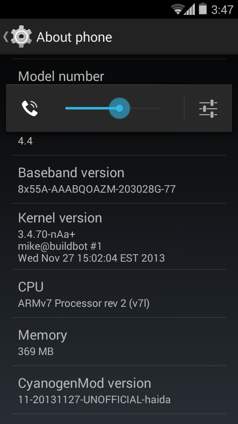 Unofficial CyanogenMod 11 KitKat 4.4 ROM for Neo - About Phone