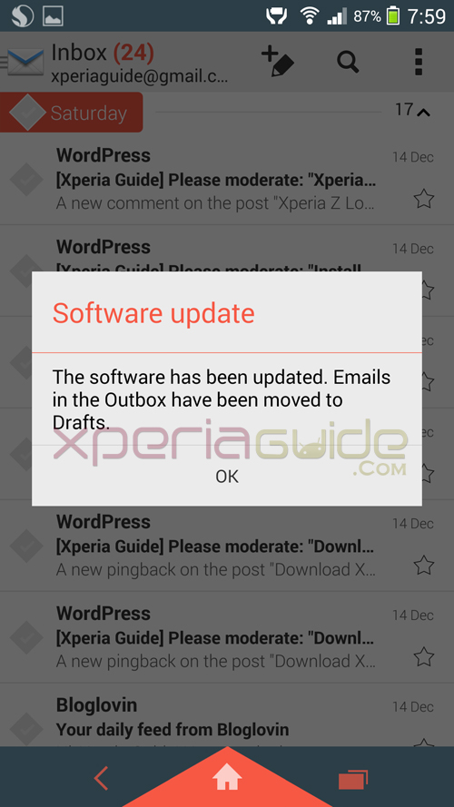 New Email app in Xperia Z1 Android 4.3 14.2.A.0.290 firmware Update