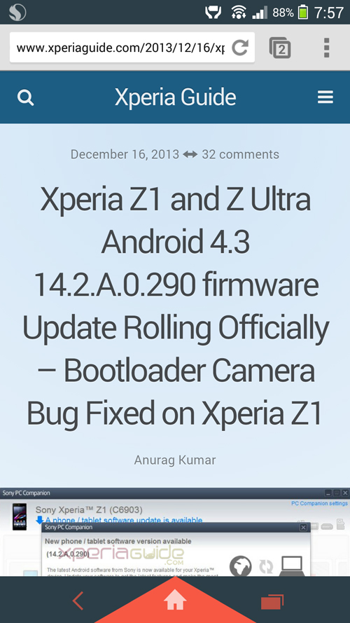 New Navigation and status bar in Xperia Z1 Android 4.3 14.2.A.0.290 firmware Update