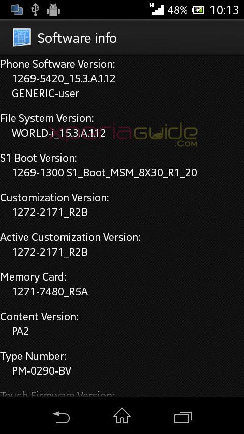 software info details of Xperia L 15.3.A.1.12 Firmware Update.