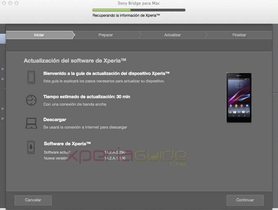 Bridge for Mac 14.2.A.1.136 firmware Xperia Z1