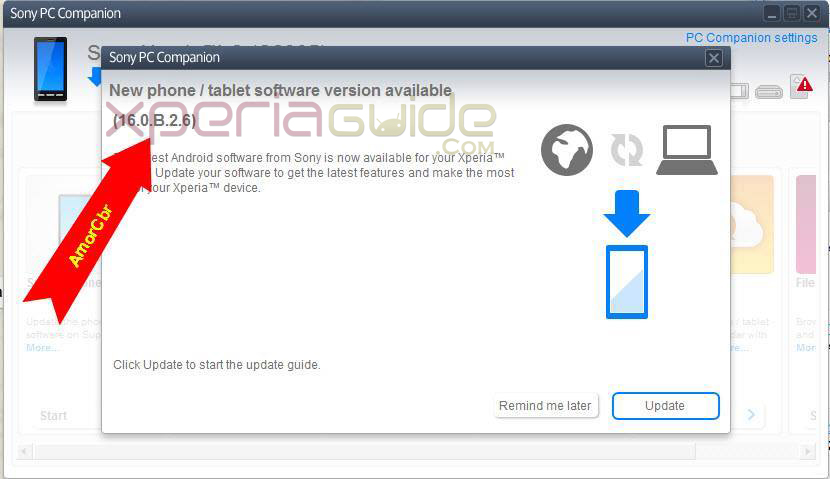 Update Xperia C on Android 4.2.2 16.0.B.2.6 firmware via PC Companion