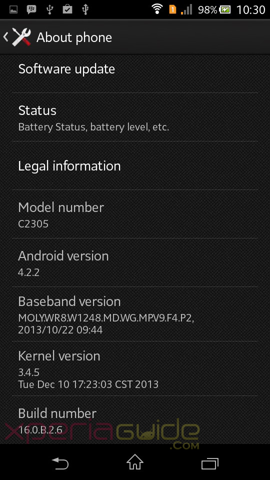 Xperia C Android 4.2.2 16.0.B.2.6 firmware update About Phone screenshot