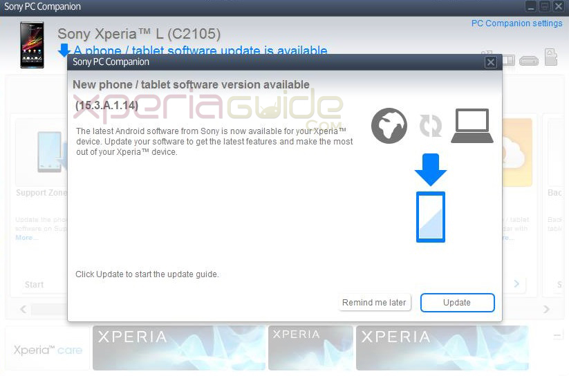 To update your Xperia L on 15.3.A.1.14 firmware, connect it to PC ...