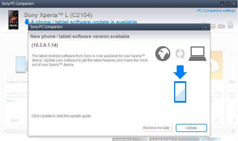 Xperia L C2104  15.3.A.1.14 firmware update via PC Companion
