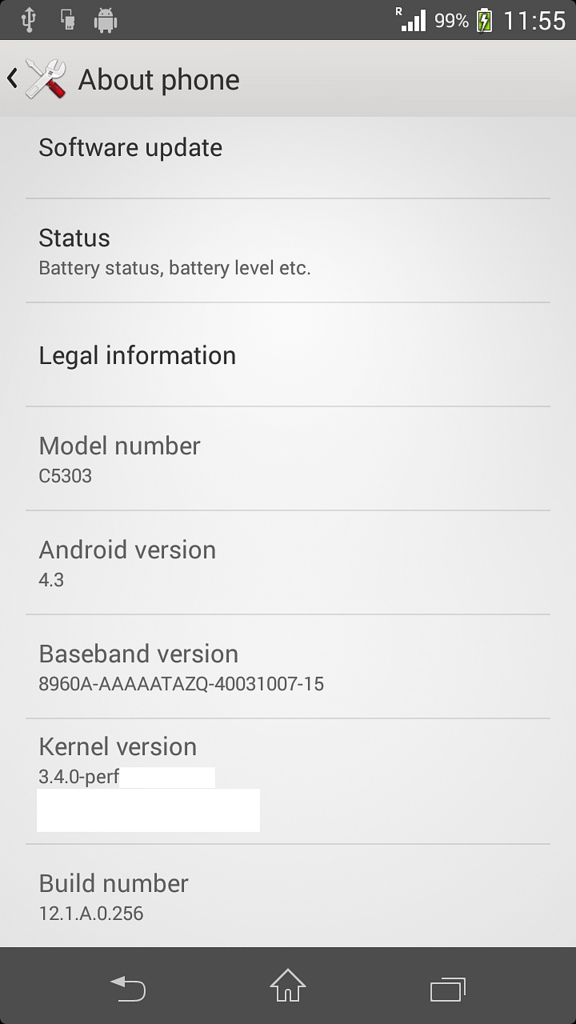 Xperia SP Android 4.3 12.1.A.0.256 firmware Screenshots Leaked