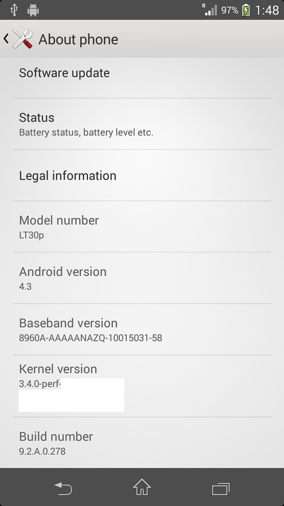 Xperia T LT30p Android 4.3 9.2.A.0.278 firmware - About Phone