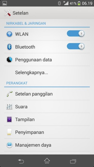 Xperia V LT25i Android 4.3 9.2.A.1.131 firmware - Settings WHite UI