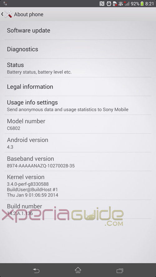 Xperia Z Ultra 14.2.A.1.136 firmware About Phone Info