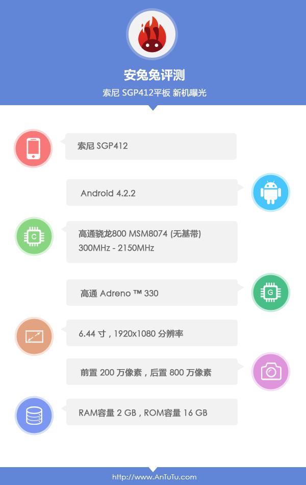 Xperia Z Ultra SGP412 Wi-Fi Specs as per AnTuTu Database
