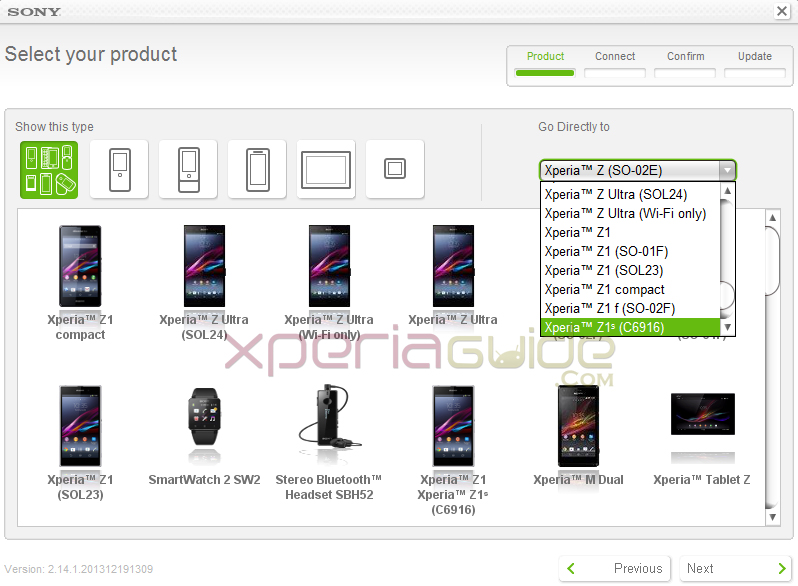 Xperia Z Ultra Wi-Fi and SOL24, Xperia Z1S and Compact added in Sony Update Service software