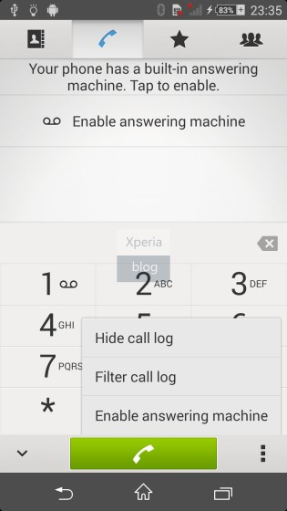 Built-in-answering Machine included in Sony D6503 Android 4.4.2 KitKat Xperia UI