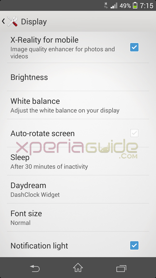 White Balance Settings on Xperia Z1 14.2.A.1.136 firmware