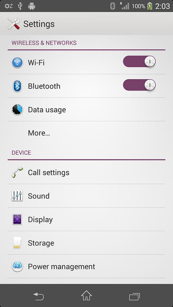 ta23Xperia T LT30p Android 4.3 9.2.A.0.278 firmware - Settings Menu