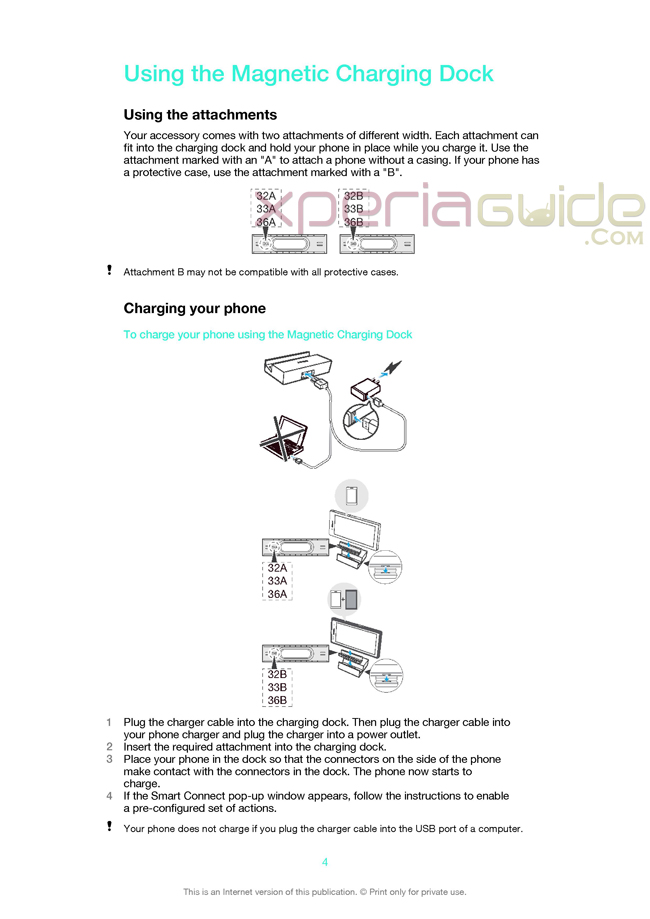 Sony Magnetic Charging Dock DK36 User Guide Manual Pdf