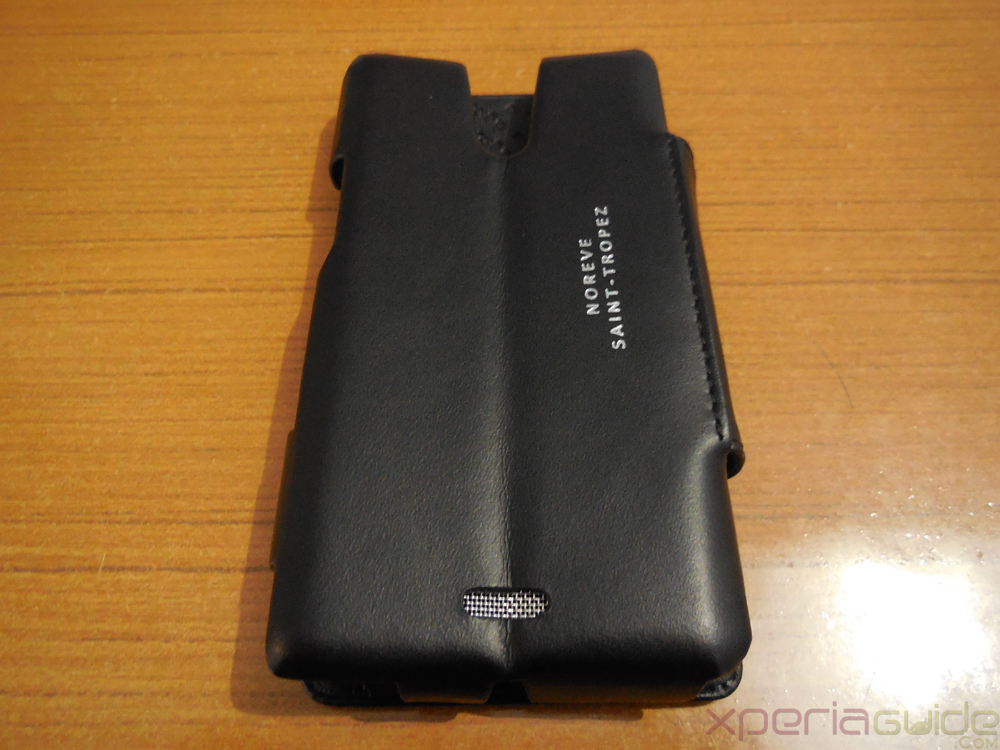 Back Side of Front Side of Xperia ZR Leather Flip Case from Noreve