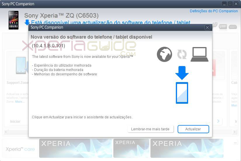 10.4.1.B.0.101 firmware update is confirmed on Xperia ZQ