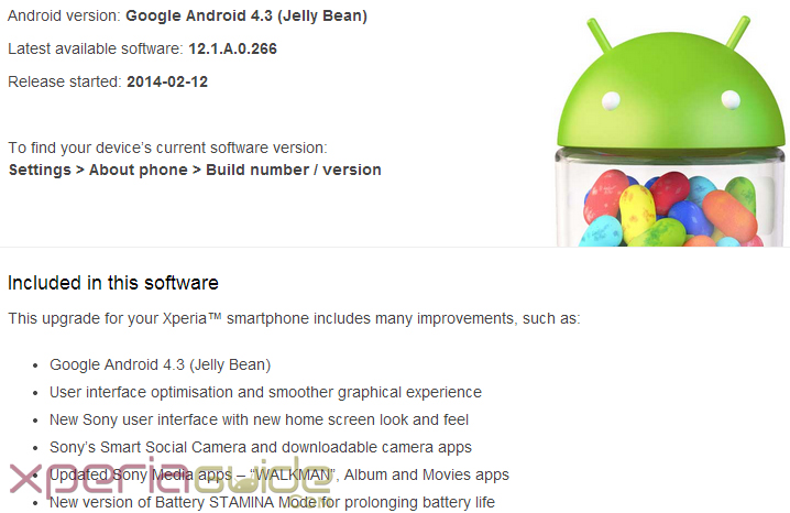 Android 4.3 12.1.A.0.266 firmware
