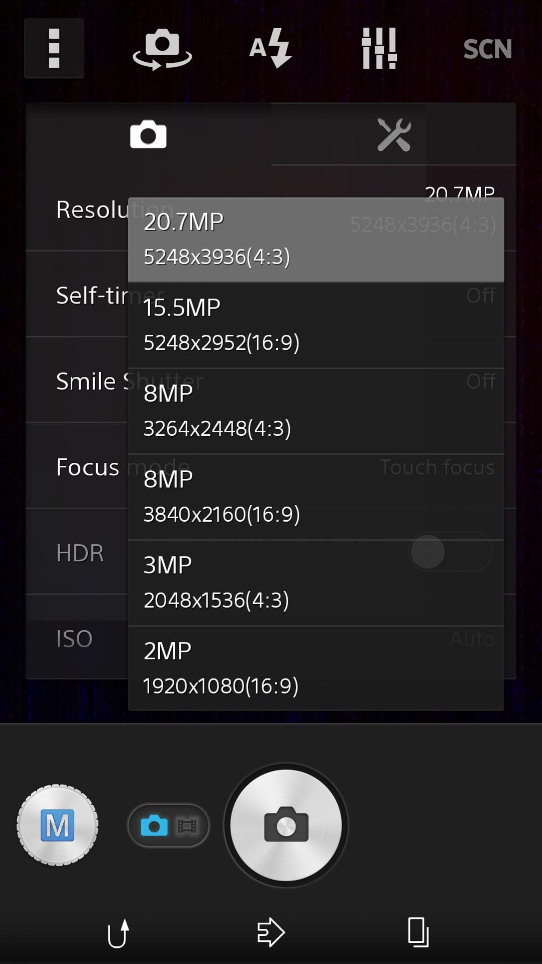 15.5MP Manual Mode camera settings in Sony D6503