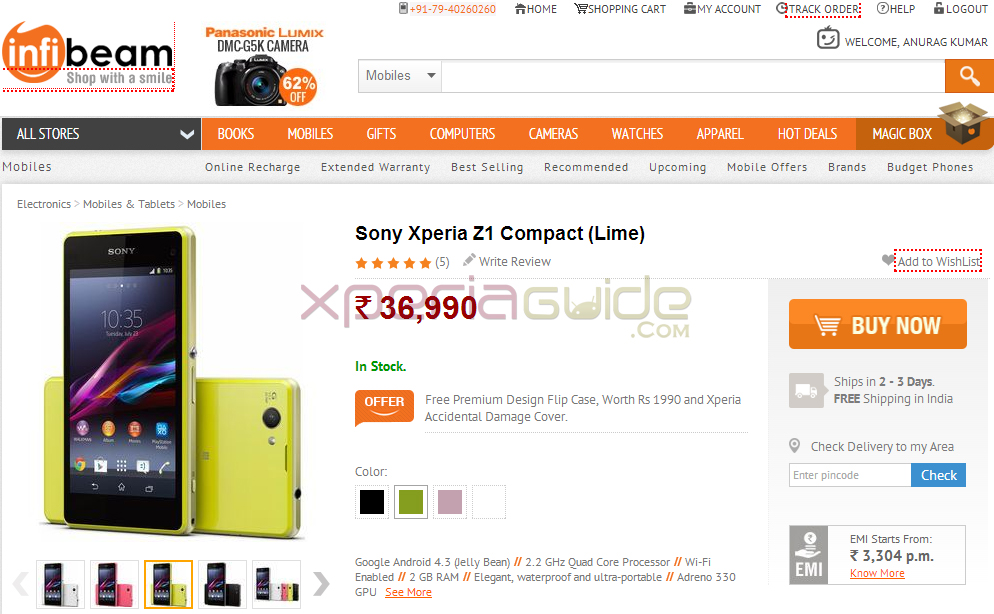 Buy Xperia Z1 Compact from Infibeam