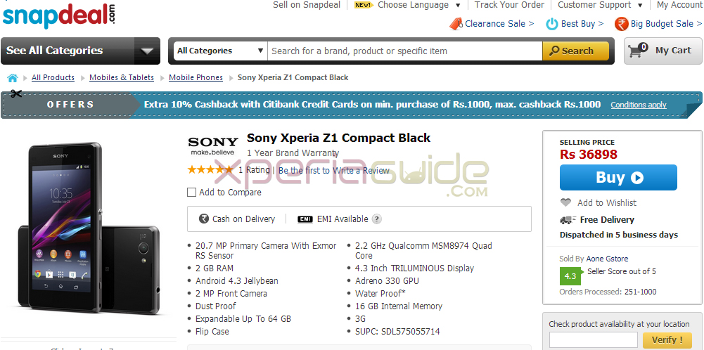 Buy Xperia Z1 Compact from Snapdeal
