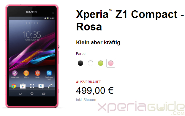 Pink Xperia Z1 Compact Goes out of Stock within 24 hours