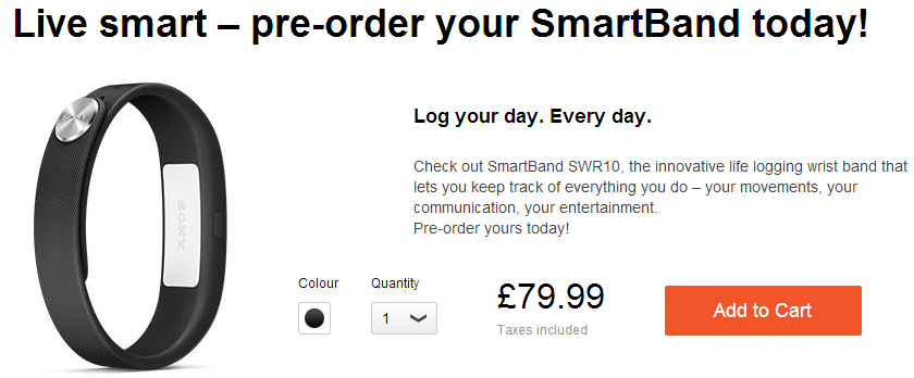 Pre-Order Sony SmartBand SWR10