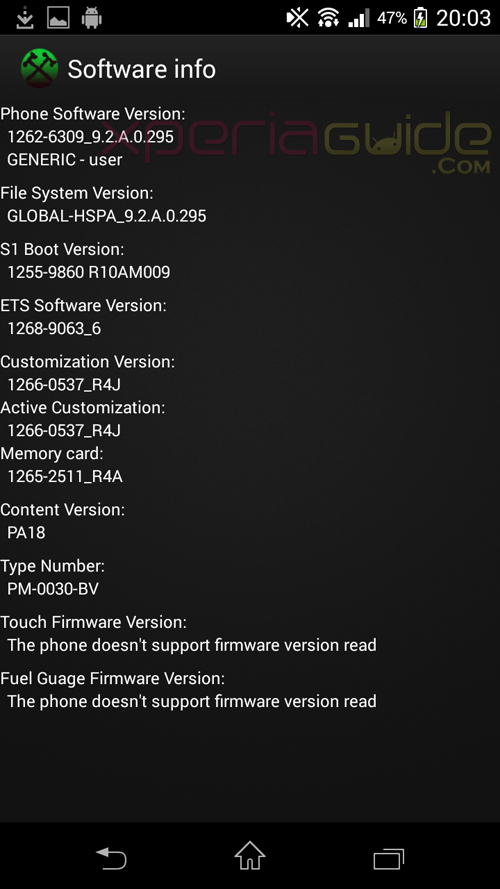 Software Info Xperia T Android 4.3 9.2.A.0.295 firmware