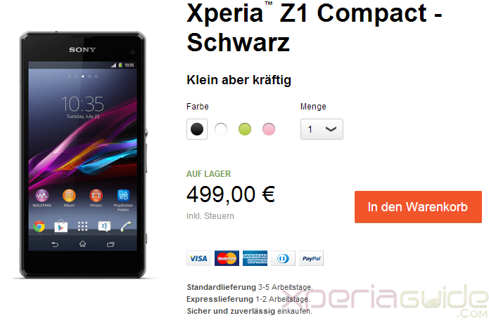 Unlocked Xperia Z1 Compact shipping starts in Germany, priced at €499