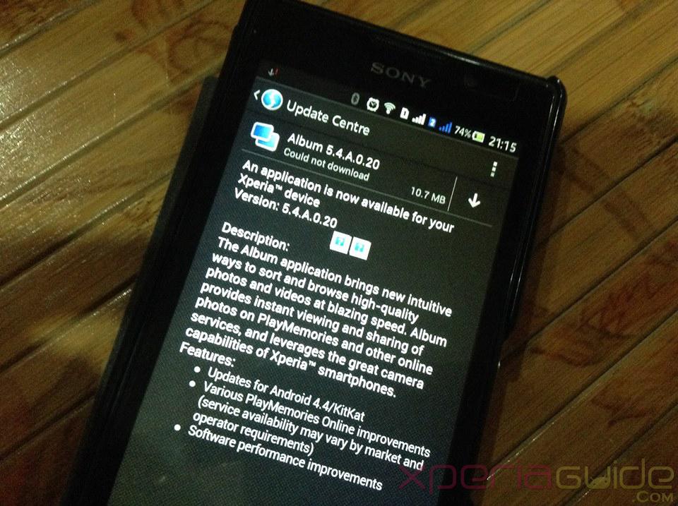 Xperia C Album App 5.4.A.0.20 update