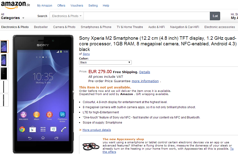 Xperia M2 Price in Germany €279
