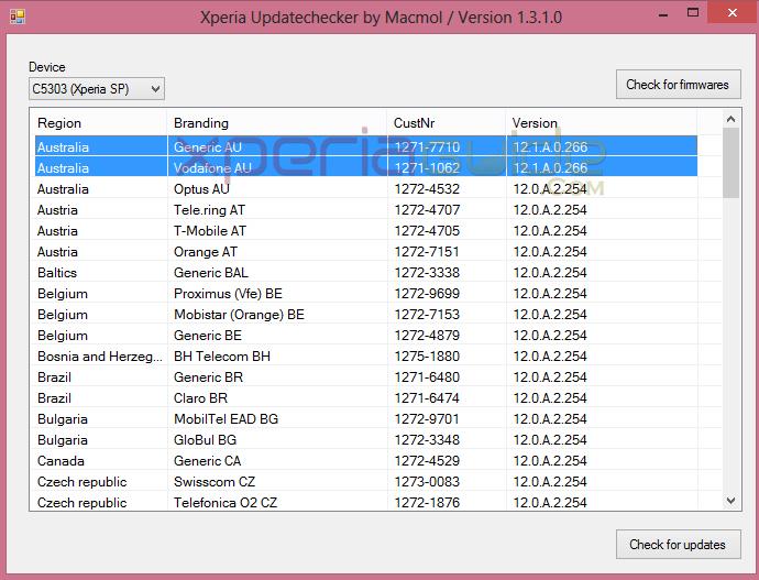Xperia SP 12.1.A.0.266 Vodafone AU