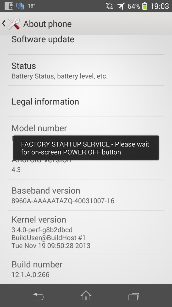 Xperia SP 12.1.A.0.266 firmware About Phone
