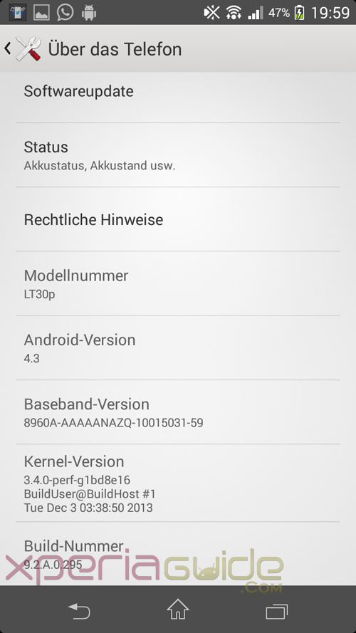 Xperia T Android 4.3 9.2.A.0.295 firmware About Phone
