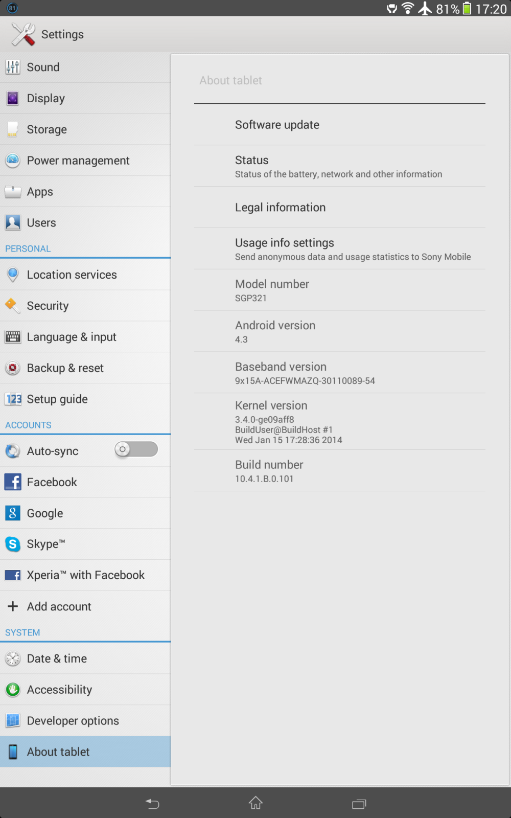 Xperia Tablet Z 10.4.1.B.0.101 firmware