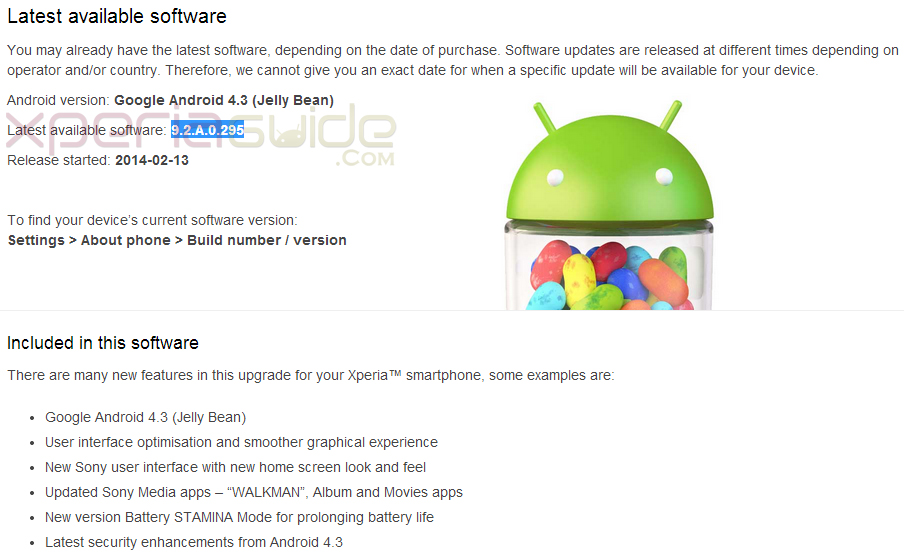 Xperia V, T, TX Android 4.3 9.2.A.0.295 firmware update