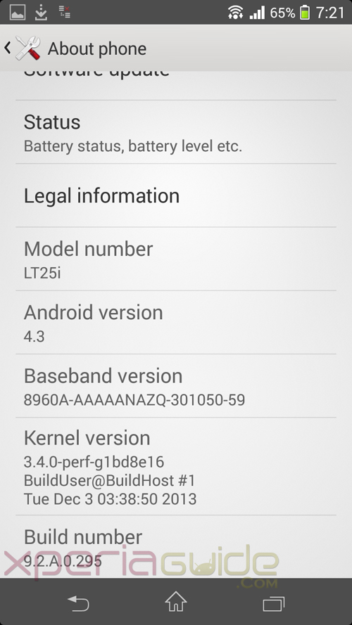 Xperia V Android 4.3 9.2.A.0.295 firmware about phone