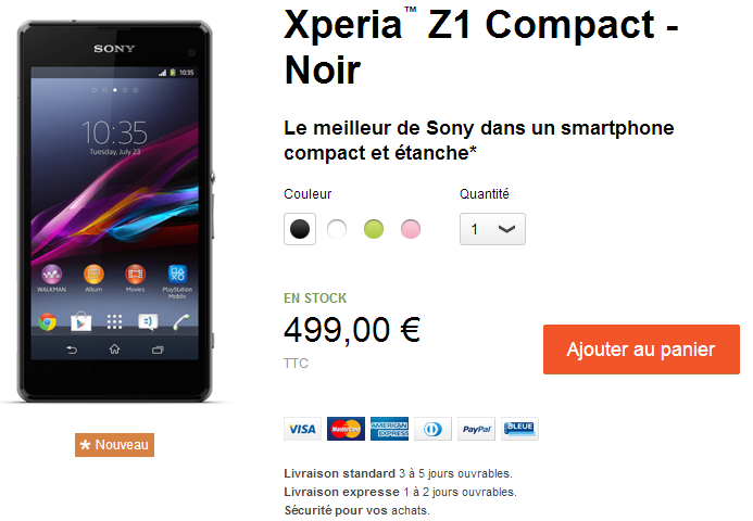 Xperia Z1 Compact France Price