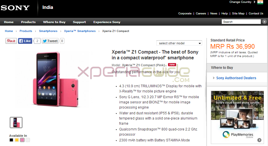 Xperia Z1 Compact Price in India INR 36990