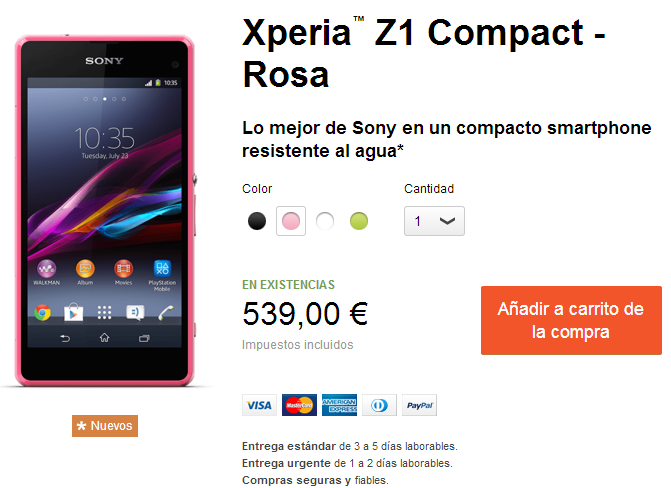 Xperia Z1 Compact Price in Spain
