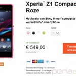 Xperia Z1 Compact shipping in Sweden, Poland, Netherlands officially from Sony Online Stores