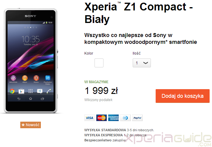 Xperia Z1 Compact shipping in Poland at price of 1999 zł