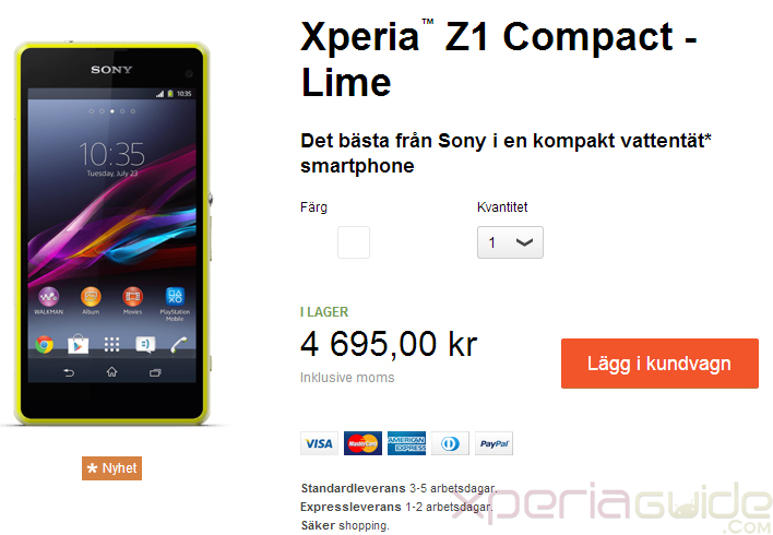 Xperia Z1 Compact shipping in Sweden at 4695kr